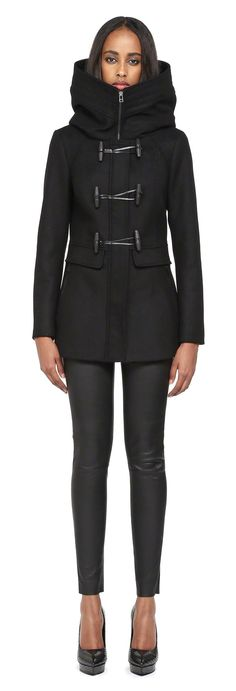 Mackage - ZANDRA NAVY HOODED WOOL COAT FOR WOMEN WITH TOGGLES