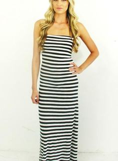 Sailor Super Soft Black White Striped Strapless Cotton Summe,  Dress, striped strapless dress  maxi summer dress, Chic