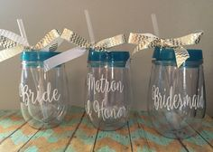 Bridesmaid Bev2Go Tumbler, Stemless Wineglass,Personalized Wine Glass, Monogrammed Stemless Wineglass by MSMudpieBoutique on Etsy