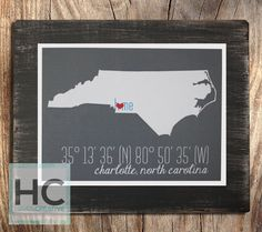 """11x14"""" Wood State Sign with GPS Coordinates and City Name - by Haven Creative"""