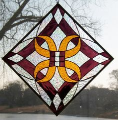Stained glass panel abstract design stained glass by sghovel, $59.00