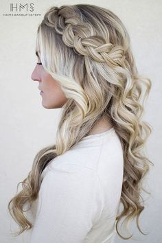 50 Cute Braided Hairstyles for Long Hair - Hair Styles DIY Wedding Hair Down, Wedding Hair And Makeup, Hair Makeup, Hairstyle Wedding, Makeup Hairstyle, Wedding Hair With Braid, Bridesmaid Hair Half Up Braid, Prom Hair Down, Braided Prom Hair