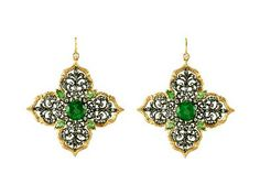 Large Lotus Earrings with Green Tourmaline - 22 Karat Gold by Arman, at Ylang | 23