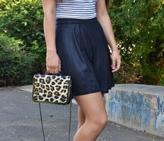 summer outfit, outfit, crop top, stripes, leopard print, strappy heels, skirt, skater skirt, black and white blogalinapop.wordpress.com