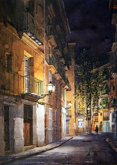 Abel Puche ~ Light And Shadow ~ Watercolór Watercolor Architecture, Architecture Drawings, Watercolor Landscape, Landscape Art, Landscape Paintings, Landscapes, Watercolor Artists, Watercolor Techniques, Watercolor Illustration