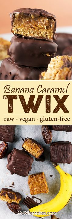 Homemade Raw Vegan Twix Bars with Banana Date Caramel. Crisp chocolate coating with a sweet and gooey Banana Caramel center. Homemade Raw Vegan Twix Bars with Banana Date Caramel. Crisp chocolate coating with a sweet and gooey Banana Caramel center. Raw Vegan Desserts, Raw Vegan Recipes, Vegan Treats, Vegan Foods, Gluten Free Desserts, Gluten Free Recipes, Date Recipes Healthy, Raw Dessert Recipes, Healthy Recepies