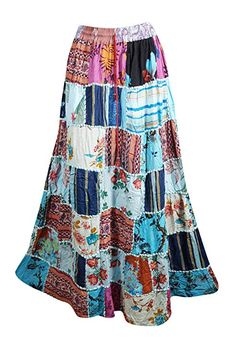 7fdb314ae7 Mogul Interior Women's Blue Bohemian Patchwork Skirt A-Line Gypsy Boho  Hippie Summer Skirts S