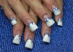 Winter Glitter French by leximartone - Nail Art Gallery nailartgallery.nailsmag.com by Nails Magazine www.nailsmag.com #nailart