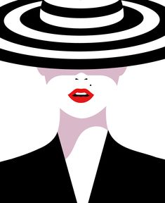 Module 8: Vector Illustration  With glamour and sophistication at the forefront of this vector design, shadow and negative space is creatively utilized to shape and contour the figure. While the oversized hat covers the models face, it creates an enticing and mysterious element to the image, immediately capturing the attention of viewers.