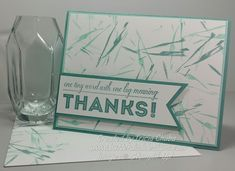 handmade thank you card from ButterDish Designs  ... monochromatic ... clean and simple ... big print sentiment on a fishtail banner ... Stampin' Up!