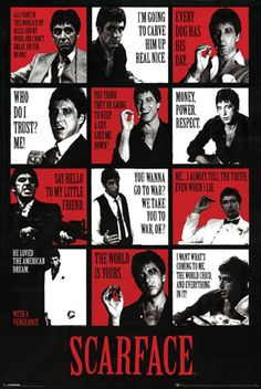 "SCARFACE ""QUOTES"" ONE SHEET POSTER REPRING AL PACINO 1983 MOBSTER EPIC"