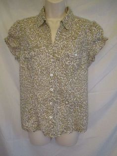 0360915 Michael Michael Kors Leopard Print Cap Sleeve Button Up Vneck 10 Blouse  #MichaelKors #Blouse #Casual