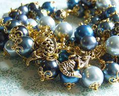 SOLD!  Beaded Pearl Charm Bracelet  Under the deep by whiteravendesignsau, $43.00