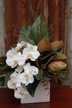 39 - White Phal & Magnolia Leaf & Pod - Rectangular Vase Ceramic