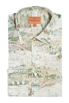 Simon Carter Made With Liberty Fabric Story Island Product Code: SCSH00450 £145.00 Simon Carter, Island Shirts, Island Map, Liberty Fabric, Graphic Prints, Neutral, 16th Century, Mermaids, Maps
