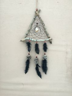 Natural Triangle Dream Catcher | Aspen Wood, Pine Cones, Quartz and Citrine Crystals | Handmade Rustic Dreamcatcher | by MerakiEffect on Etsy https://www.etsy.com/listing/512443159/natural-triangle-dream-catcher-aspen