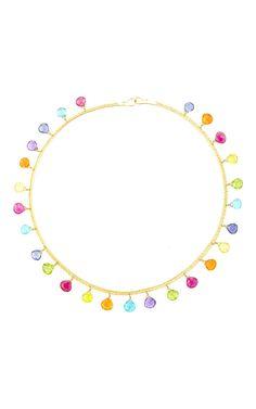 "22K Yellow Gold and Multicolored Briolette Chain ""Torque"" Necklace  by Marie-Hélène de Taillac for Preorder on Moda Operandi"