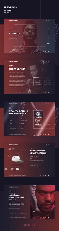 The Weeknd Redesign Concept.Photos and text were taken from an official website. The Weeknd Redesign Concept.Photos and text were taken from an official website. Web Ui Design, Best Web Design, Page Design, Media Design, Interaction Design, Website Design Inspiration, Graphic Design Inspiration, Web Layout, Layout Design