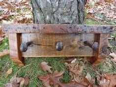 Reclaimed Barnwood 3 hook Railroad Spike coatrack hatrack barn wood coat rack. $40.00, via Etsy.