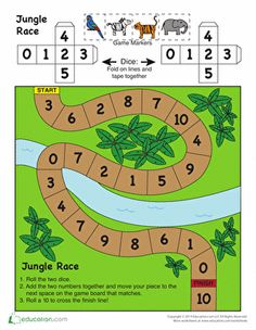 Kindergarten Counting & Numbers Addition Worksheets: Jungle Board Game
