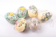 Decopage Easter Ornaments with Crazing Painted Easter Eggs Floral Pastels Chicks Vintage  The Pink Room  160912 by ThePinkRoom