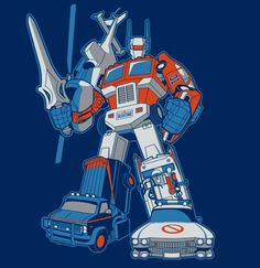 1980's Vehicle Transformer, Optimus Prime, Dukes of Hazzard, Airwolf, Ghostbusters, The A Team, Jetfire's Head and He-Man's Sword.