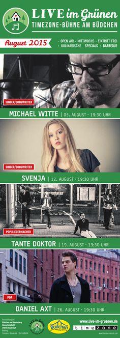 Live im Grünen – Timezone-Bühne am Büdchen - das Programm August 2015