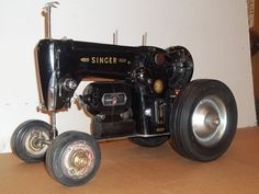 Sewing machine tractor made from antique Singer Sewing Machine.