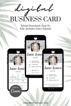 There's no need to kill the rainforests with physical Business Cards when you can create a digital business card! I've created these awesome Digital Business Card templates. Instant download, easy to edit within Canva, simply edit to your branding colours and fonts. Your business cards include a video tutorial showing you how to personalise it to your business. Download and created your beautifully branded digital business card today. Digital Business Card, Business Cards, Etsy Seo, Virtual Assistant Services, Rainforests, Card Templates, Business Tips, Communication, How To Become
