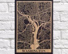 WOOD MAP print Wood wall art, Travel Washington DC city map Rustic panel effect Washington print on wood Rustic map of Washington wood print by Woodprintz on Etsy