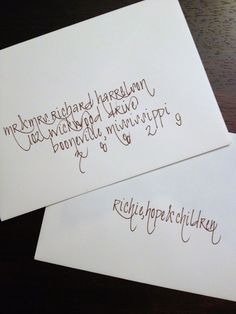 Calligraphy in Mocha Ink on White Envelopes. (Penned and Pretty.A Calligraphy Shop) Calligraphy Types, Calligraphy Drawing, Calligraphy Envelope, How To Write Calligraphy, Calligraphy Handwriting, Envelope Art, Beautiful Calligraphy, Envelope Design, Calligraphy Letters