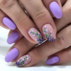 Purple Nail Art, Floral Nail Art, Pretty Nail Art, Chic Nails, Stylish Nails, Trendy Nails, Cute Acrylic Nails, Gel Nails, Gel Nail Art