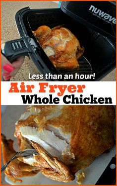 Cook a Whole Chicken in the Air Fryer in Under an Hour! Cook a Whole Chicken in the Air Fryer in Under an Hour! Air Fryer Dinner Recipes, Air Fryer Oven Recipes, Air Fryer Recipes Breakfast, Cooking Whole Chicken, Stuffed Whole Chicken, Chef Recipes, Healthy Recipes, Cooking Recipes, Healthy Cooking