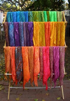 hand-dyed silk shibori scarves