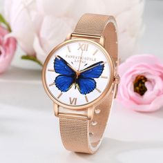 Top Lvpai Brand Blue Butterfly Dial Casual Quartz Watch Women Men Lovers Gold Mesh Stainless Steel Watches Relogio Feminino