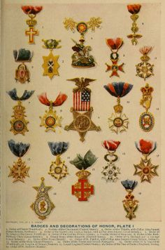 Badges and Decorations of Honor ~ Webster's New Standard Dictionary, c1911