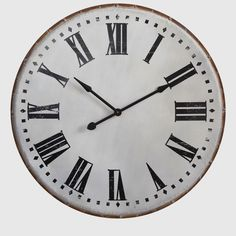 Large Round Metal Wall Clock | antiquefarmhouse.com