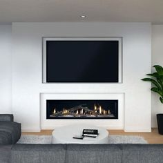 Discover the charm of electric and gas burning flames with the top 60 best linear fireplace ideas. Explore modern and contemporary home interiors. Wall Units With Fireplace, Tv Above Fireplace, Living Room Decor Fireplace, Linear Fireplace, Living Room Wall Units, Home Fireplace, Fireplace Remodel, Modern Fireplace, Fireplace Design