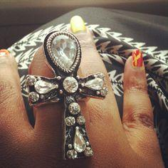 Crystal ankh ring