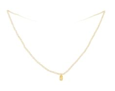 Seed Pearl Petite 18K Gold Nugget Necklace with Diamond - www.annaruthhenriques.com