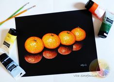 Tangerine Painting, Citrus Painting, Acrylic on watercolor paper, original hand paint Orange Painting, Fruit Painting, Hand Painting Art, Realistic Paintings, Dog Paintings, Kitchen Wall Art, Home Wall Art, Human Heart Drawing, Free Facebook Likes