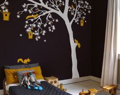 Grote witte boom muur sticker wit boom decal door TheAmeliaDesigns