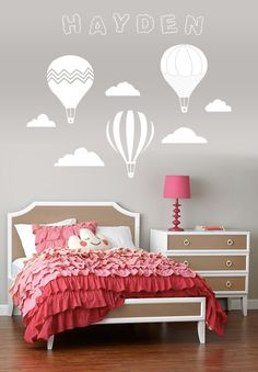 Vintage Hot Air Balloon and Cloud Wall Decal with Name by slaps, $59.00