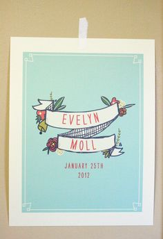 Birth Announcement Wall Art by mylittlebuffalo on Etsy, $18.00