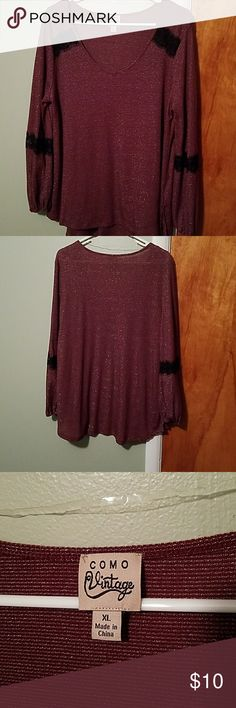 Shirt Maroon shirt with black lace detail Tops Blouses