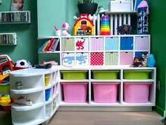 Playroom very organised and with lots of colour