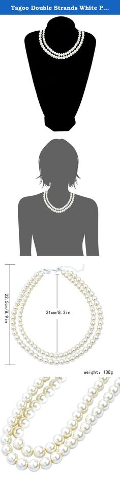 Tagoo Double Strands White Pearl Chunky Choker Necklace for Women&Girls. Package includes one elegant double-row pearl necklace. Great and wonderful gift idea for women and girls(lover/wife/girlfriend/mother/niece/friends). Well celebration presents on birthday, anniversary, Christmas, Valentine's Day, engagement, wedding, Thanksgiving Day, Mother's Day etc.