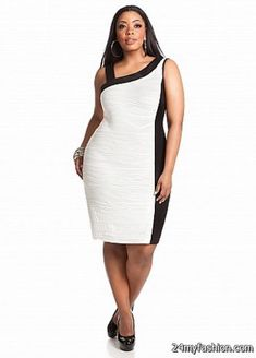 9d7e9ebd0d70a Web Exclusive: Color Block Uneven Shoulder Dress Style: Be a showstopper on  that special night out! Plus size dress features a color contrasting uneven  ...