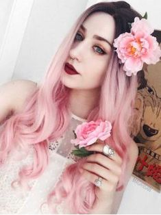 """24"""" Black to Pastel Pink Ombre Long wavy Synthetic Wigs- edw039"""