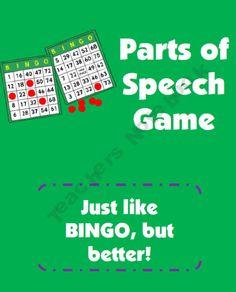Parts of Speech BINGO Game--noun, verb, adjective, adverb, preposition--Put sentences on ELMO with specific word underlined--student identifies part of speech